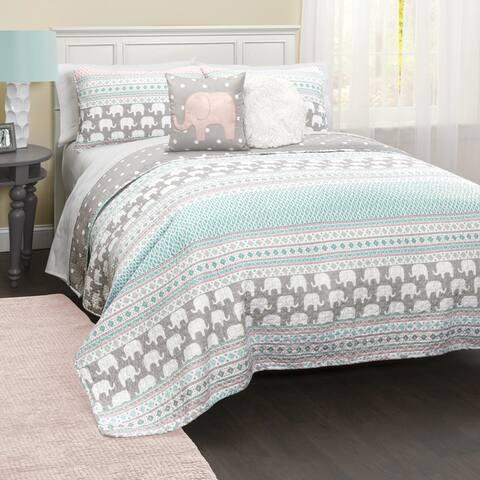 Taylor & Olive Ever-Tru Elephant Stripe 5-piece Quilt Set