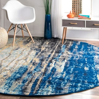 nuLOOM Modern Abstract Vintage Blue Round Rug (8' Round)