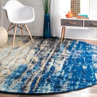 Oliver & James Mika Abstract Blue Vintage Rug - 8' Round