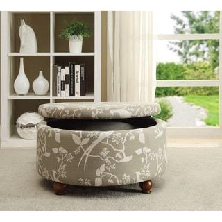 Floral Round Storage Ottoman