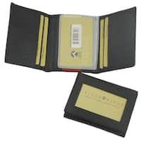 Punita Group Black Lambskin Leather Tri-fold Men's Wallet