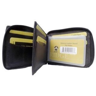 Punita Group Black Lambskin Leather Bi-fold Zip Wallet