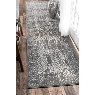 nuLOOM Vintage Floral Ornament Silver Runner Rug (2'8 x 12') - Thumbnail 0