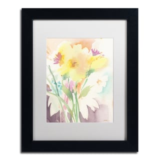 Sheila Golden 'Yellow Flower Blossoming' Matted Framed Art