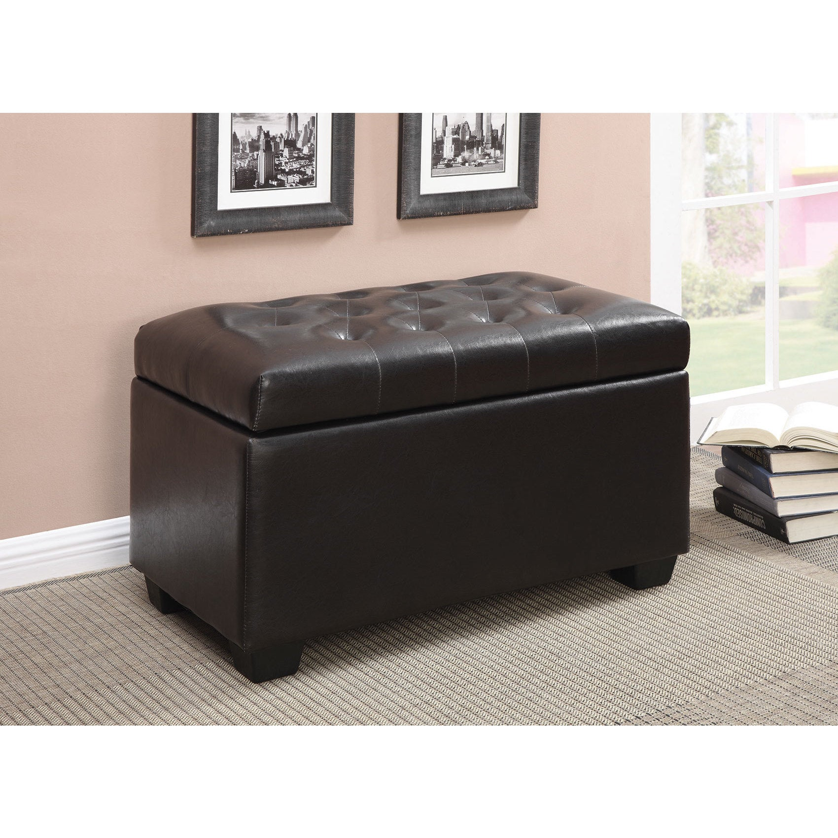 Peachy Details About Coaster Company Dark Brown Button Tufted Storage Ottoman Black Large Ibusinesslaw Wood Chair Design Ideas Ibusinesslaworg