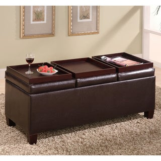 Brown Faux Leather Storage Ottoman with Reversible Trays