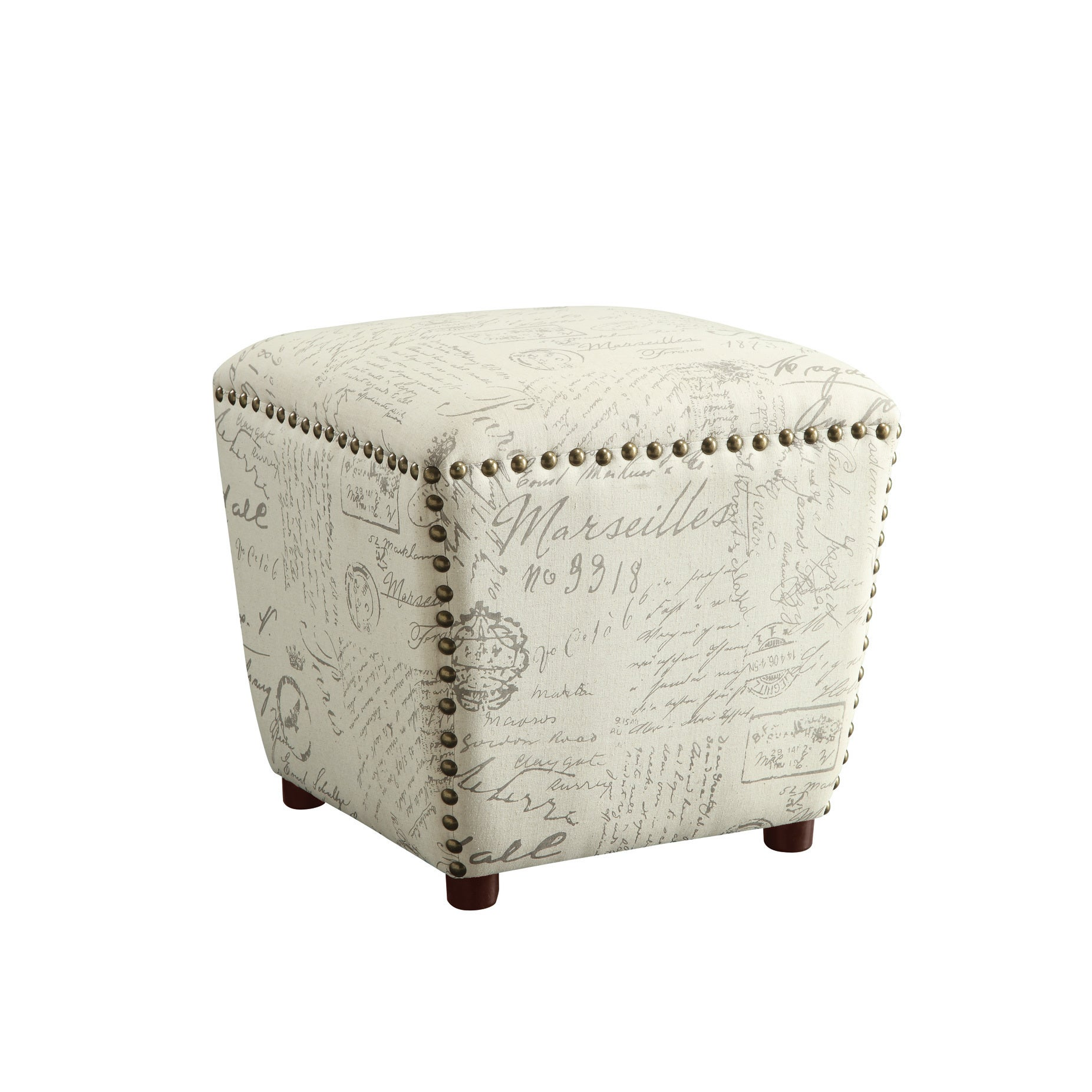Copper Grove Astilbe French Script Beige Upholstered