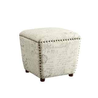 Coaster Company French Script Beige Upholstered Ottoman