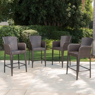 Anaya Outdoor Wicker Barstool (Set of 4)  by Christopher Knight Home - N/A