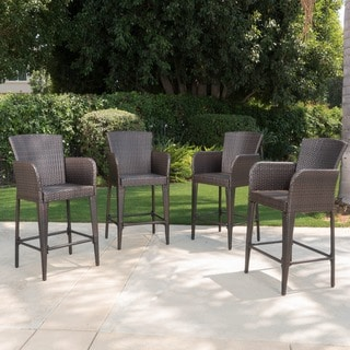 Anaya Outdoor Wicker Barstool (Set of 4) by Christopher Knight Home