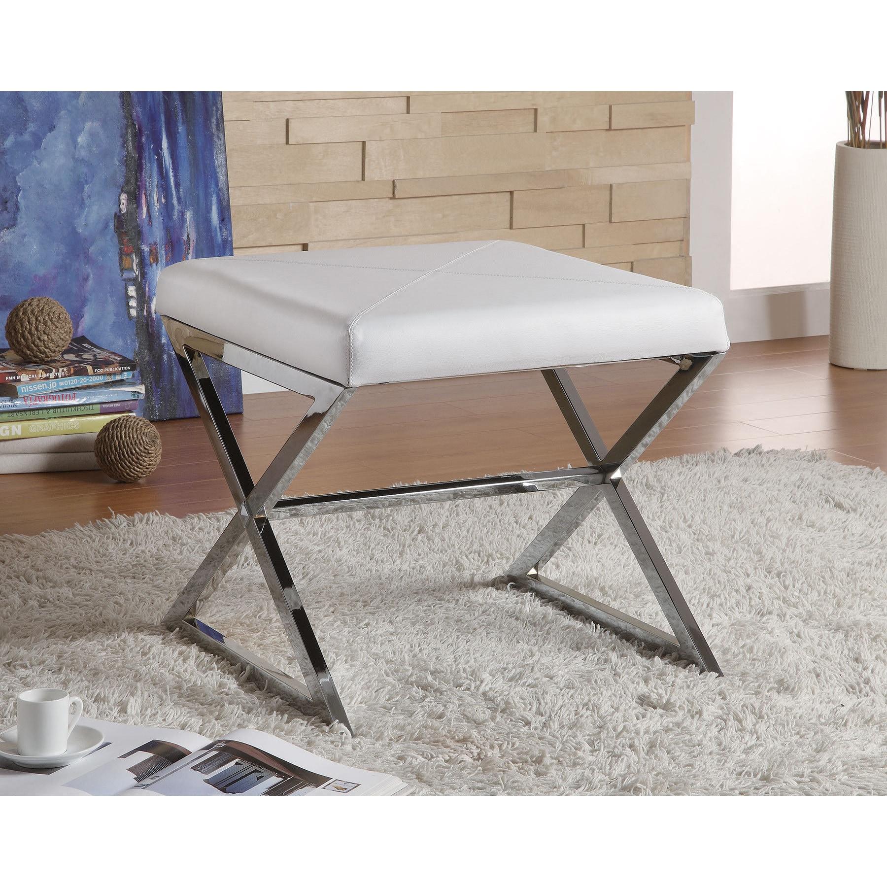Coaster Furniture White Faux Leather Metal Ottoman (White...
