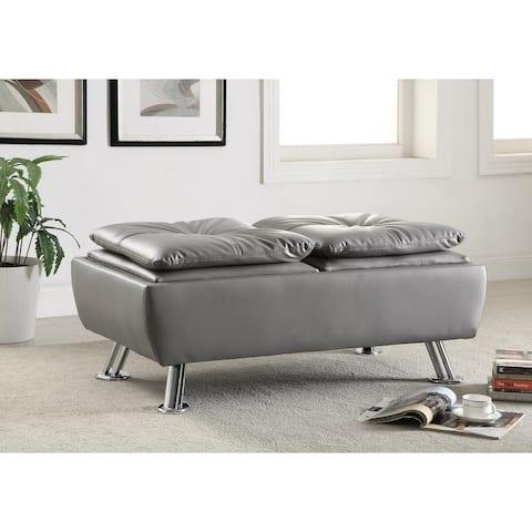 Coaster Company Grey Faux Leather Chrome Storage Ottoman