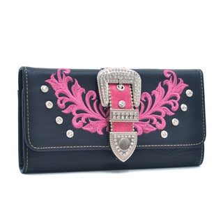Dasein Faux Leather Tri-fold Wallet with Rhinestone