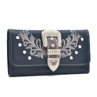 Dasein Faux Leather Tri-fold Wallet with Rhinestone