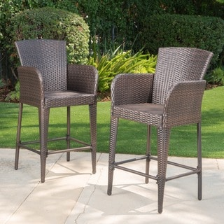 Christopher Knight Home Anaya Outdoor Wicker Barstool (Set of 2)