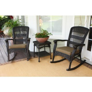 Havenside Home Avoca Dark Roast 3-piece Outdoor Plantation Rocking Chair Set