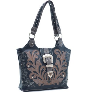 Dasein Studded Rhinestone Buckle Embroidered Western Shoulder Bag