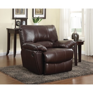 Power Recline Brown Leather Recliner Chair