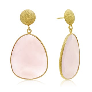 36 Carat Free Form Rose Quartz Earrings In 14K Yellow Gold