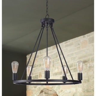 Link to The Gray Barn Lake View 5-light Black Modern Rustic Black Chandelier - N/A Similar Items in As Is