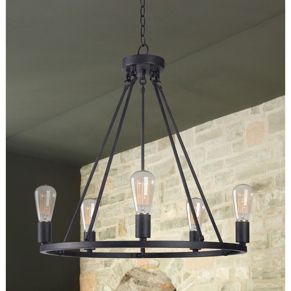 The Gray Barn Lake View 5-light Black Modern Rustic Black Chandelier - N/A. Opens flyout.