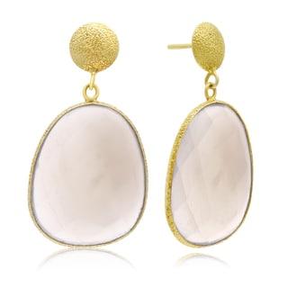 36 Carat Free Form Gray Moonstone Earrings In 14K Yellow Gold