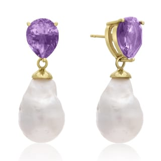 64 TGW Pear Shape Amethyst and Baroque Pearl Dangle Earrings In Yellow Gold Over Sterling Silver