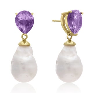 64 Carat Pear Shape Amethyst and Baroque Pearl Dangle Earrings In 14K Yellow Gold