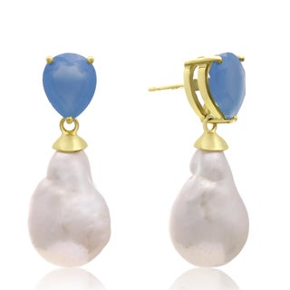 64 Carat Pear Shape Blue Chalcedony and Baroque Pearl Dangle Earrings In 14K Yellow Gold