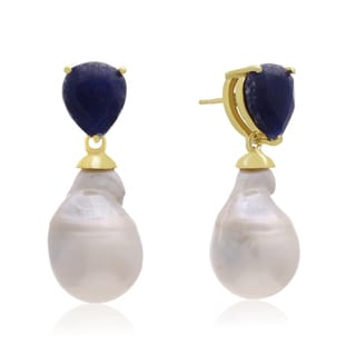 64 TGW Pear Shape Blue Sapphire and Baroque Pearl Dangle Earrings In Yellow Gold Over Sterling Silver