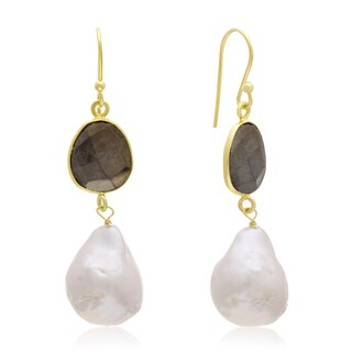 64 TGW Pyrite and Baroque Pearl Dangle Earrings In Yellow Gold Over Sterling Silver - White