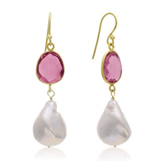 64 Carat Raspberry Quartz and Baroque Pearl Dangle Earrings In 14K Yellow Gold