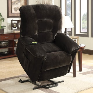 Coaster Company Dark Brown Power Lift Velvet Recliner