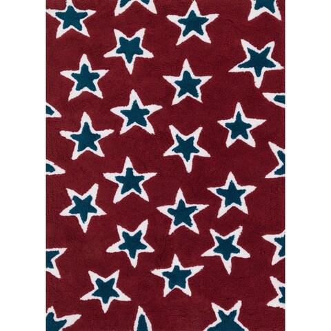 Hand-tufted Riley Red/ Navy Rock Star Shag Rug (5'0 x 7'0)