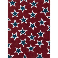 Hand-tufted Riley Red/ Navy Rock Star Shag Rug (5'0 x 7'0) - 5' x 7'