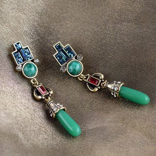 Sweet Romance Art Deco Vintage Jade Glass Earrings|https://ak1.ostkcdn.com/images/products/12187279/P19036708.jpg?impolicy=medium