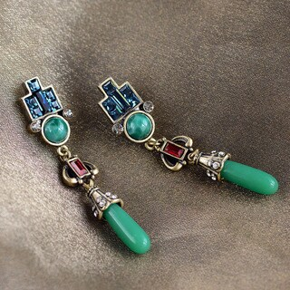 Sweet Romance Art Deco Vintage Jade Glass Earrings