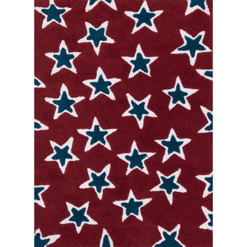 Hand-tufted Riley Red/ Navy Rock Star Shag Rug (7'3 x 9'3) - 7'3 x 9'3