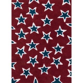 Hand-tufted Riley Red/ Navy Rock Star Shag Rug (7'3 x 9'3)
