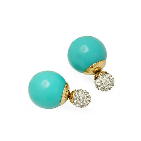 Piatella Ladies Gold Tone Double Sided Cubic Zirconia Aquamarine Pearl Earrings