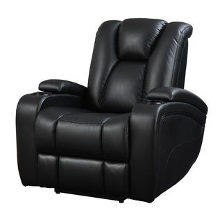 Black Faux Leather Power Recliner