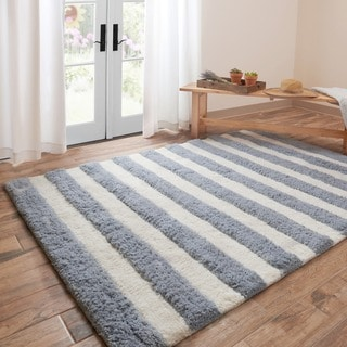 Hand Tufted Riley Slate/ Ivory Striped Shag Rug (7u00273 X 9