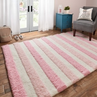 Hand-tufted Riley Pink/ Multi Striped Shag Rug (5'0 x 7'0)