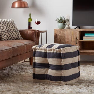 Classic Striped Square Pouf (India)