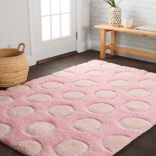 "Hand-tufted Riley Pink/ Multi Polka Dots Shag Rug (7'3 x 9'3) - 7'3"" x 9'3"""