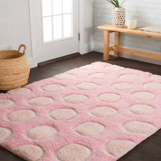 Hand Tufted Riley Pink Multi Polka Dots Shag Rug 7 3 X