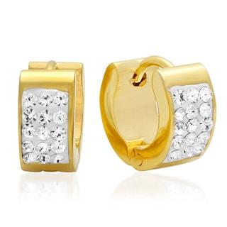 Swarovski Elements Ladies 18k Goldplated Stainless Steel Cubic Zirconia Huggie Earrings