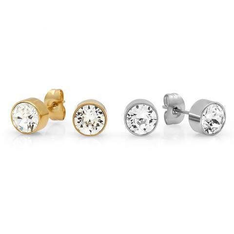 Swarovski Elements Stainless Steel Cubic Zirconia Stud Earrings (Set of 2)