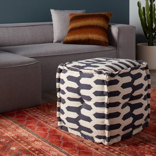 Handmade Zipper Stripe Blue and White Square Sitting Pouf (India)