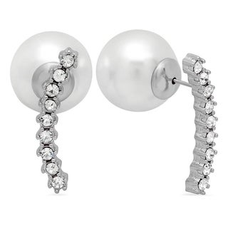Silvertone Cubic Zirconia and Pearl Double-sided Ear Climbers
